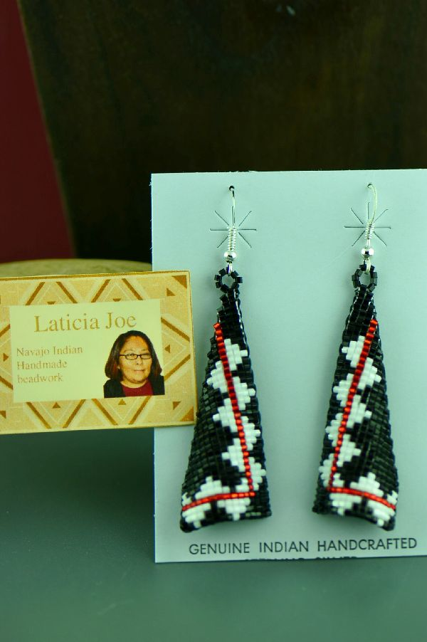 Navajo Multi-Colored Beaded Sterling Silver Earrings by Laticia Joe