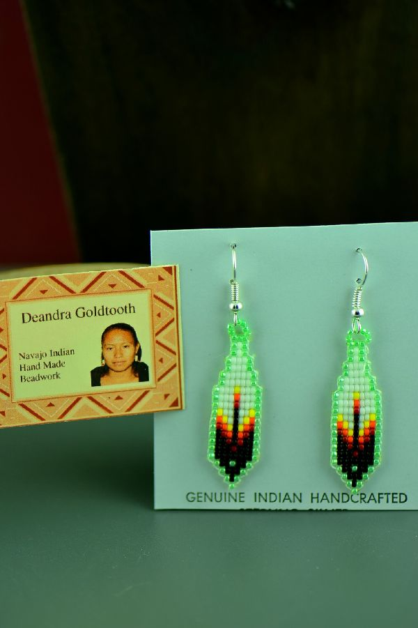 Navajo Sterling Silver Beaded Prayer Feather Earrings by Deandra Goldtooth