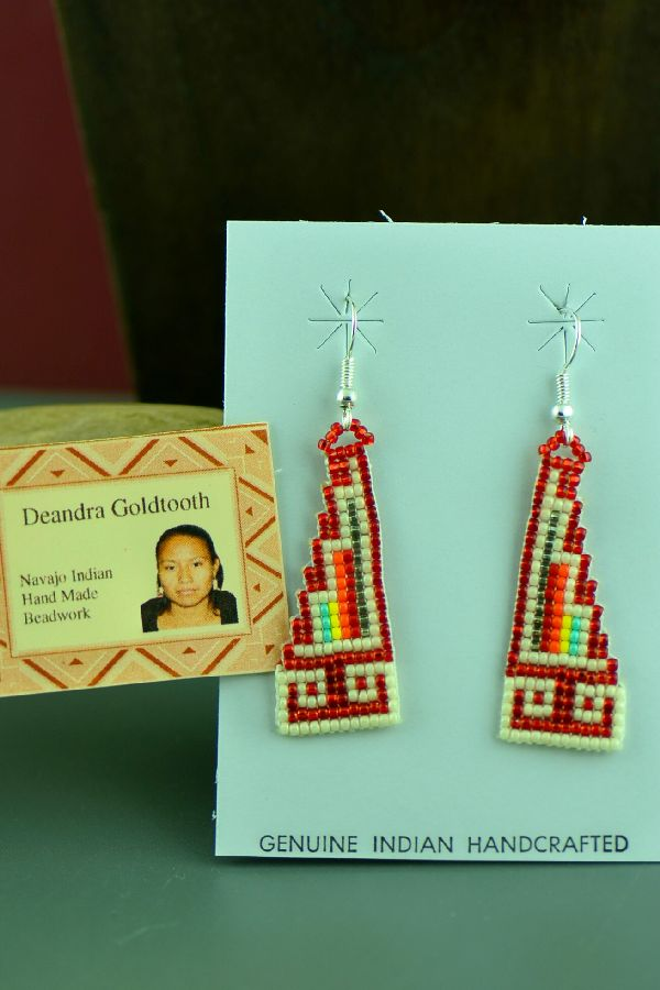 Navajo Sterling Silver Beaded Water Symbol Earrings by Deandra Goldtooth