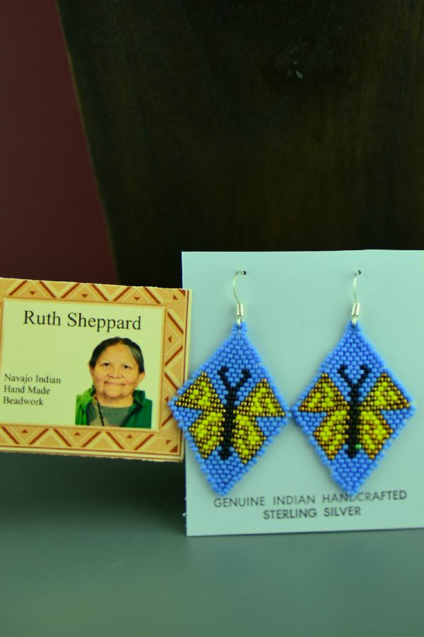 Navajo Sterling Silver Beaded Butterfly Earrings by Ruth Sheppard