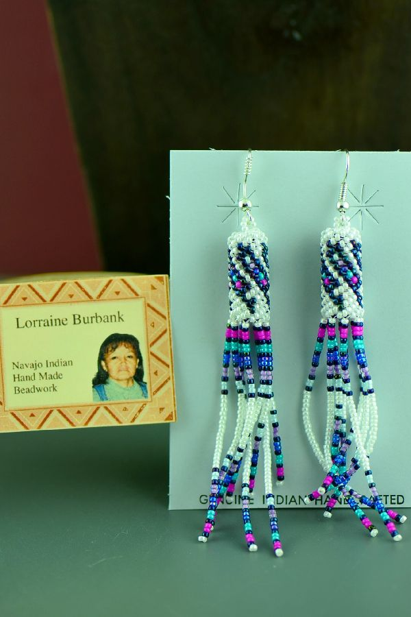 Navajo Long Beaded Sterling Silver Earrings by Lorraine Burbank