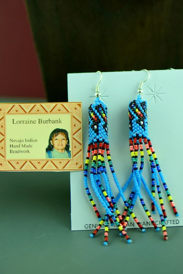 Navajo Long Multi-Colored Beaded Sterling Silver Earrings by Lorraine Burbank