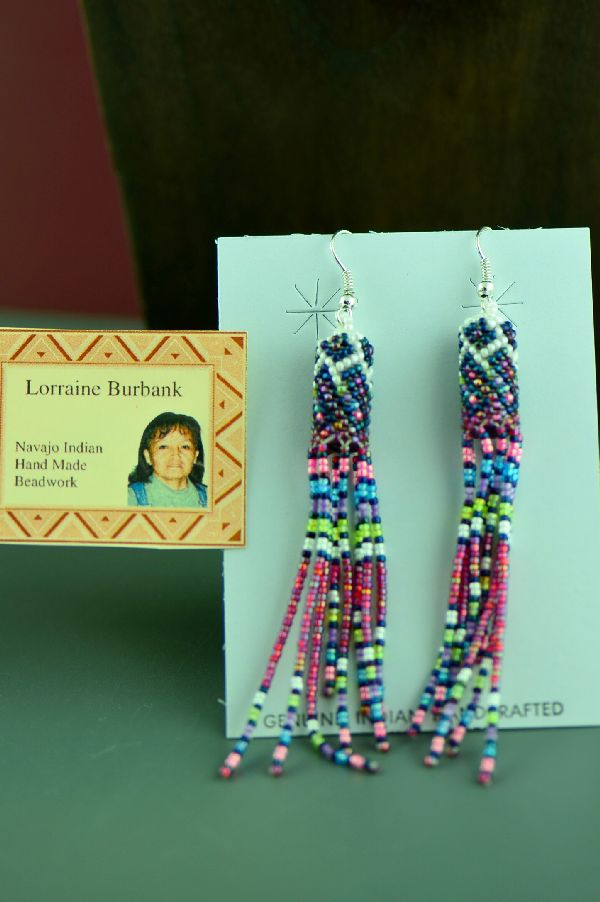 Navajo Lorraine Burbank Long Multi-Colored Beaded Sterling Silver Earrings