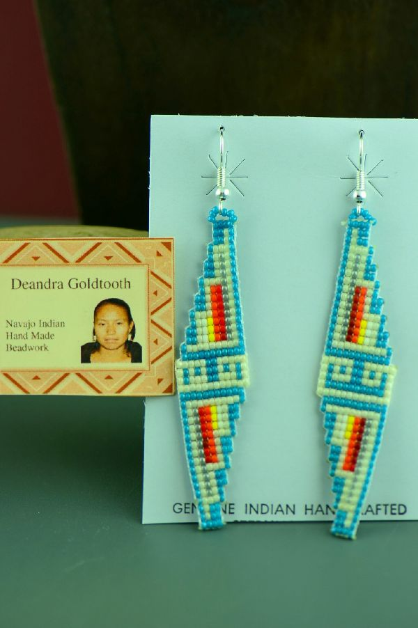 Deandra Goldtooth Navajo Sterling Silver Beaded Water Symbol Earrings