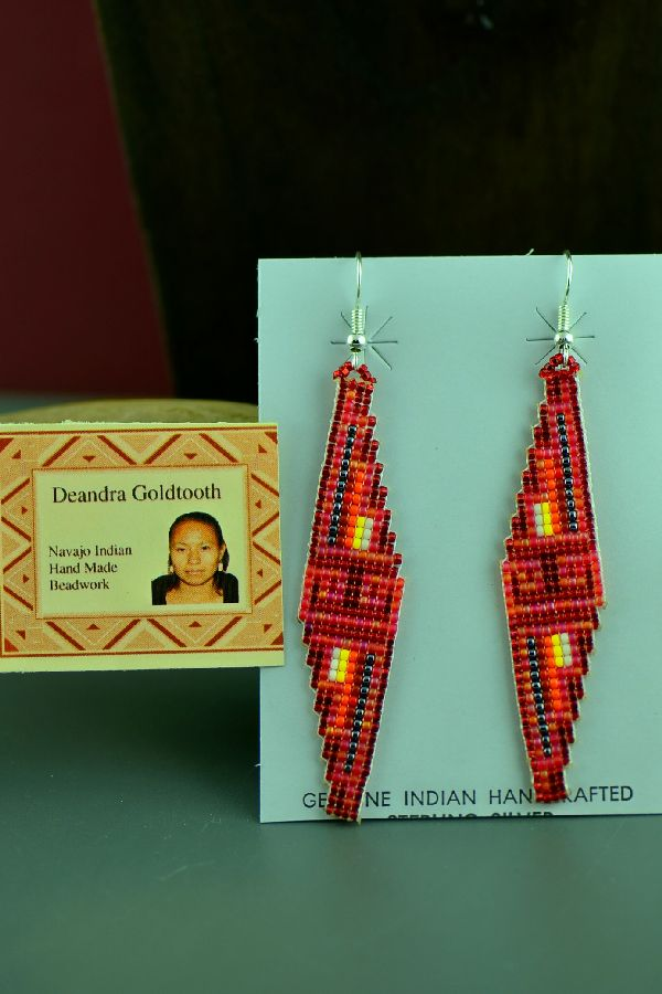 Navajo Traditional Sterling Silver Beaded Earrings by Deandra Goldtooth