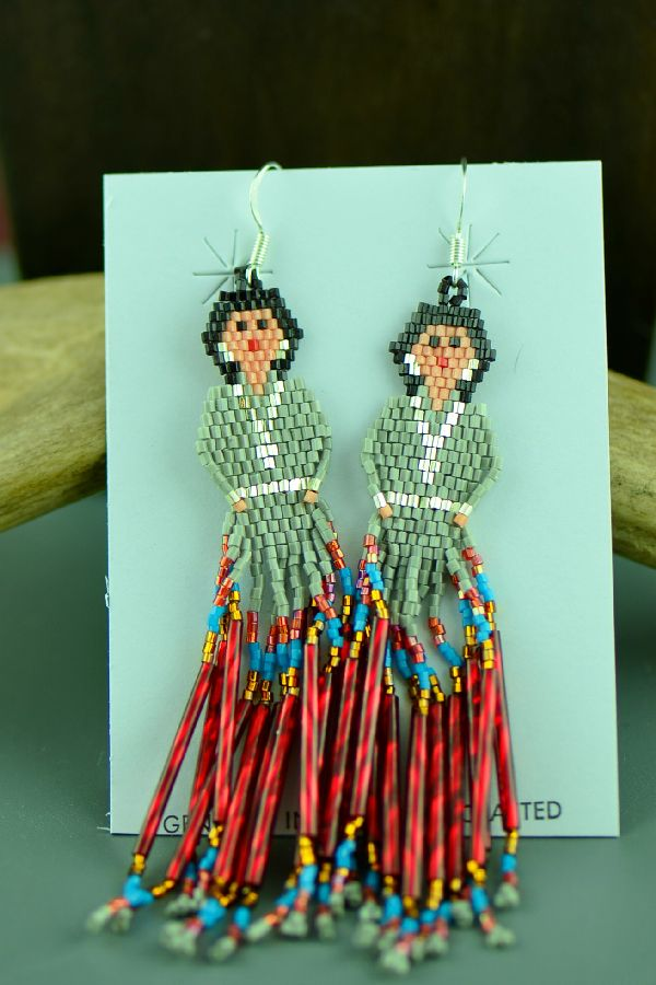 Sandra Parkett Sterling Silver Beaded Navajo Girl Earrings