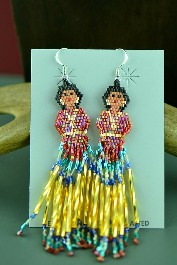 Navajo Sterling Silver Beaded Navajo Girl Earrings by Sandra Parkett