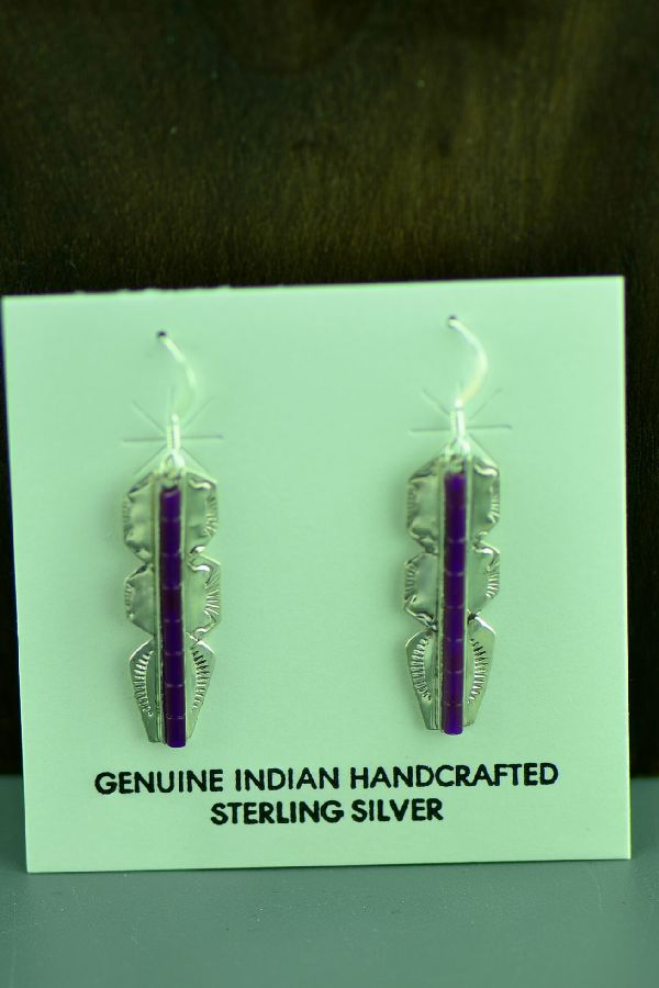 Navajo Sterling Silver Purple Heishi Earrings by Linda and Alvin James
