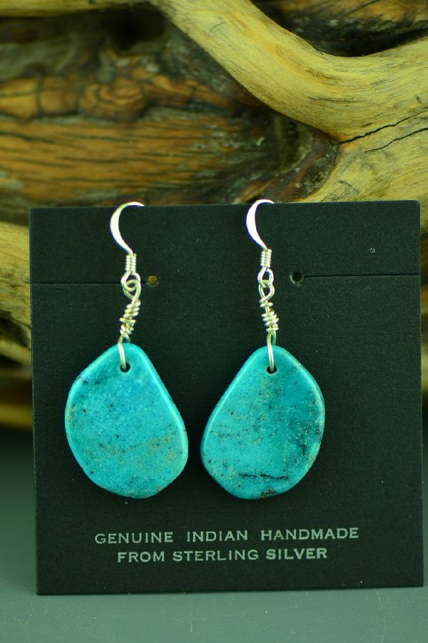Santo Domingo Kingman Turquoise Earrings by Ron Chavez