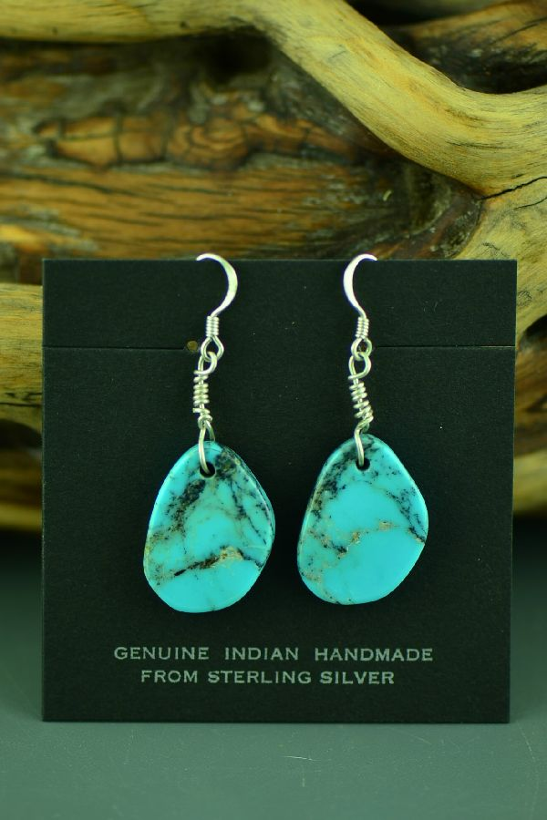 Santo Domingo Sterling Silver Kingman Turquoise Earrings by Ron Chavez