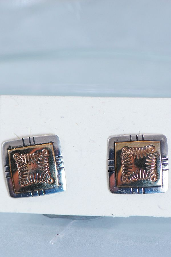 Navajo 12ktGF and Sterling Silver Earrings by Barbara Hemstreet