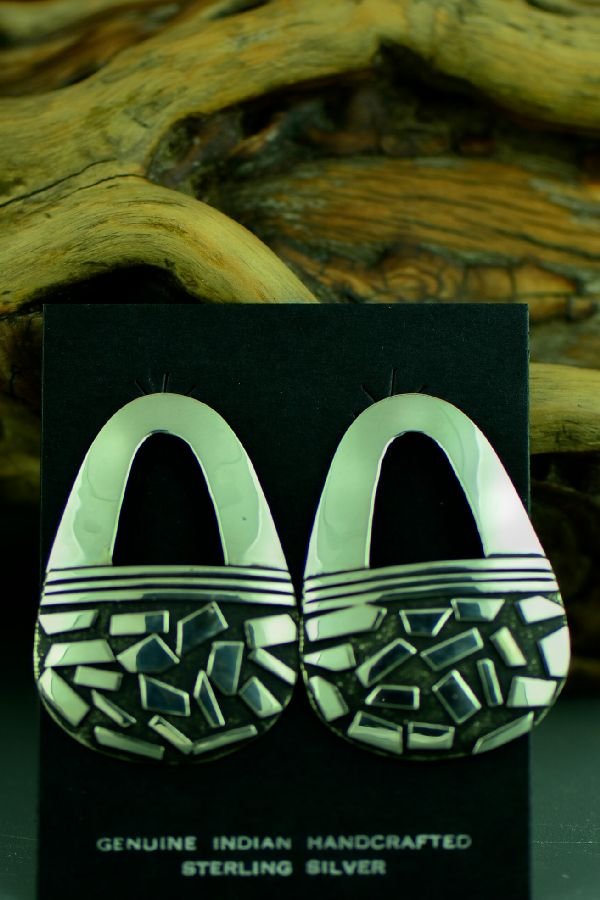 Navajo Contemporary Sterling Silver Earrings