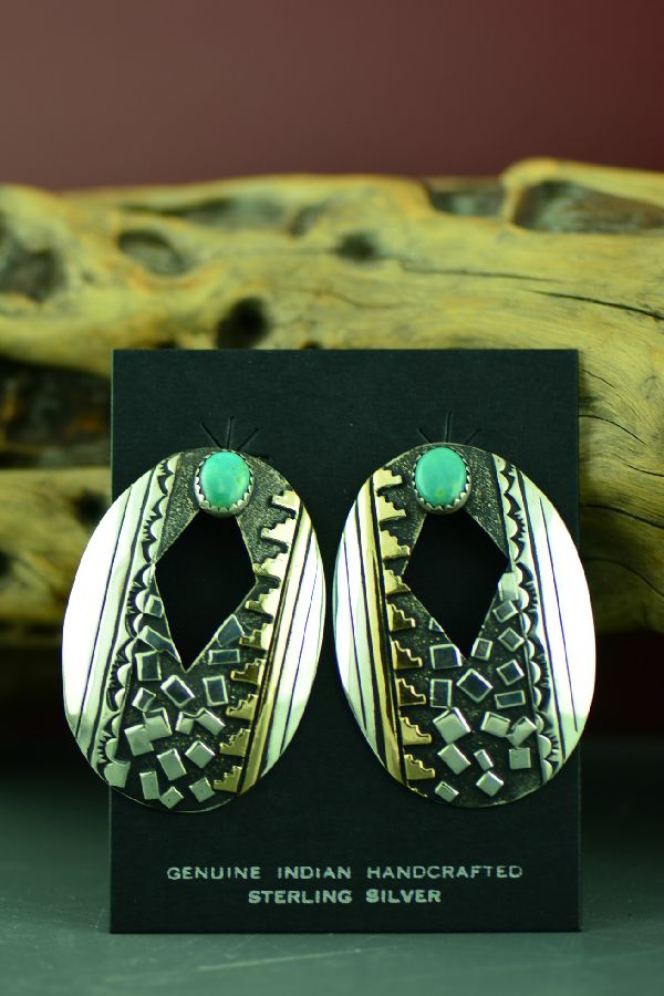 Navajo Sterling Silver and 12ktGF Kingman Turquoise Mountain Symbol Earrings by Rosita Singer