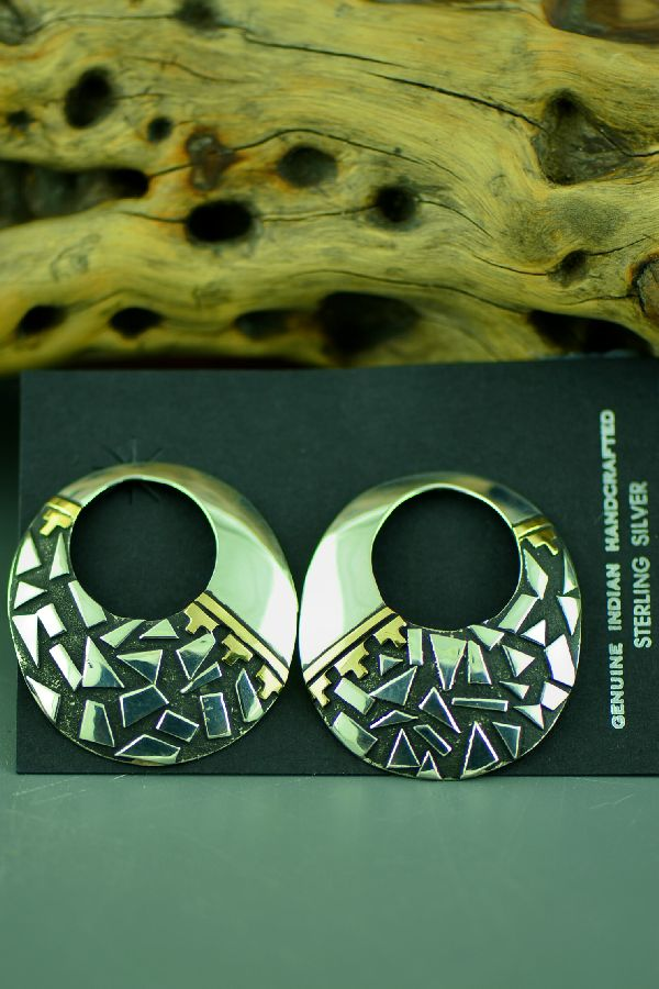 Contemporary Silver and Gold Navajo Earrings