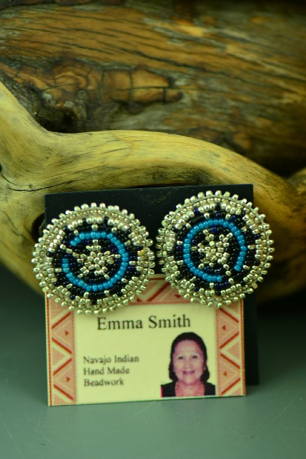 Navajo Beaded Wedding Basket Earrings by Emma Smith