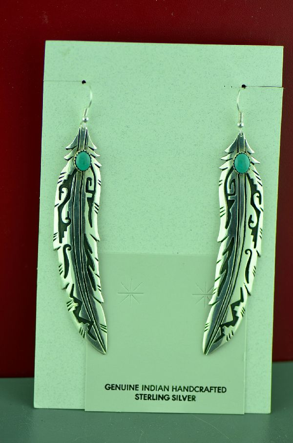 Native American Kingman Turquoise Feather Earrings by Rosita Singer