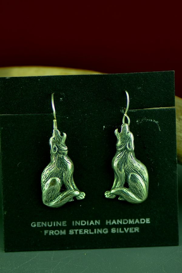 Navajo Sterling Silver Coyote Earrings