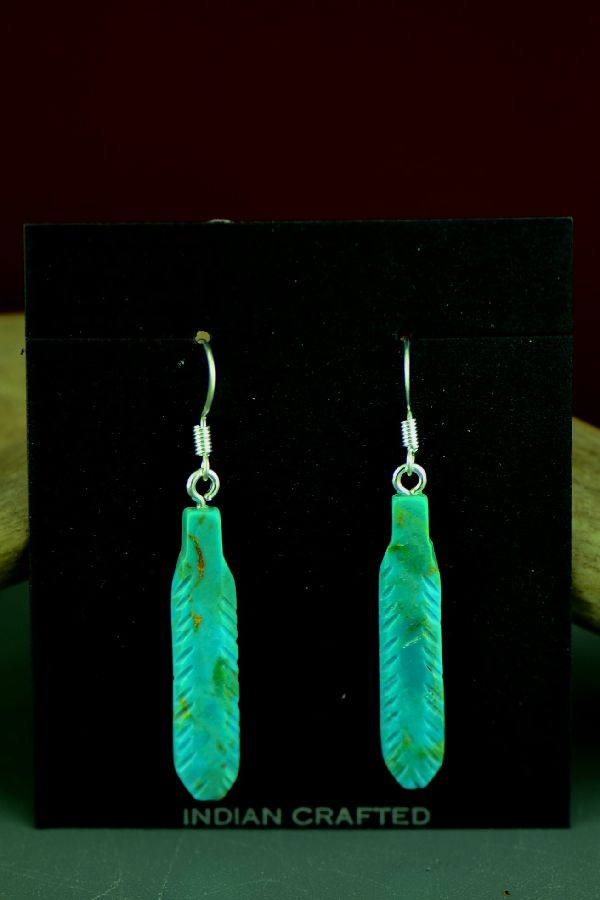Navajo Kingman Turquoise Feather Earrings by DuWayne Turpen