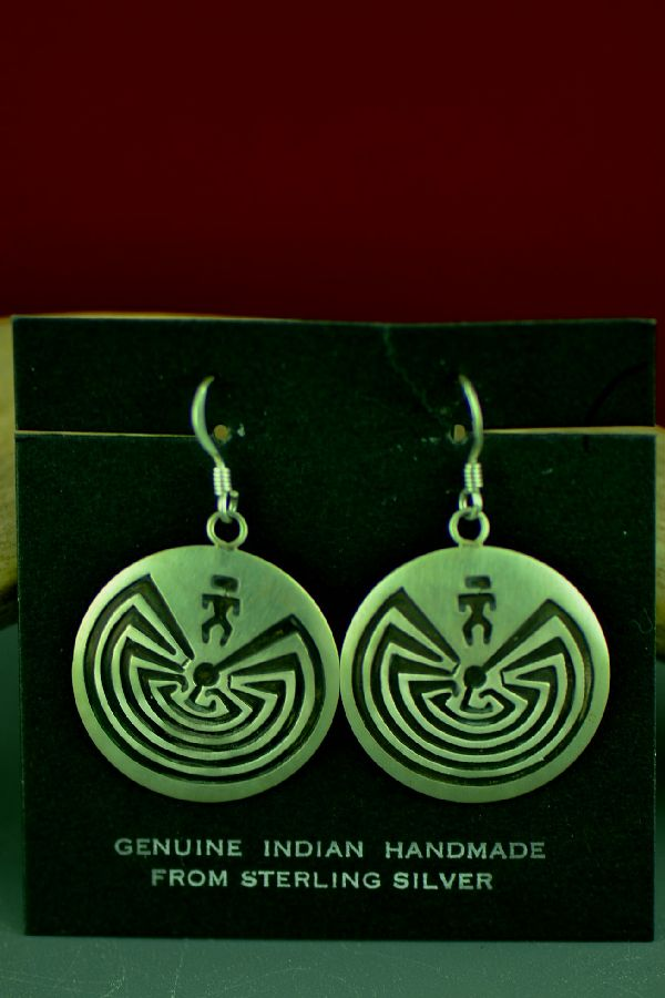 Navajo Sterling Silver Man in the Maze Earrings by Stanley Gene