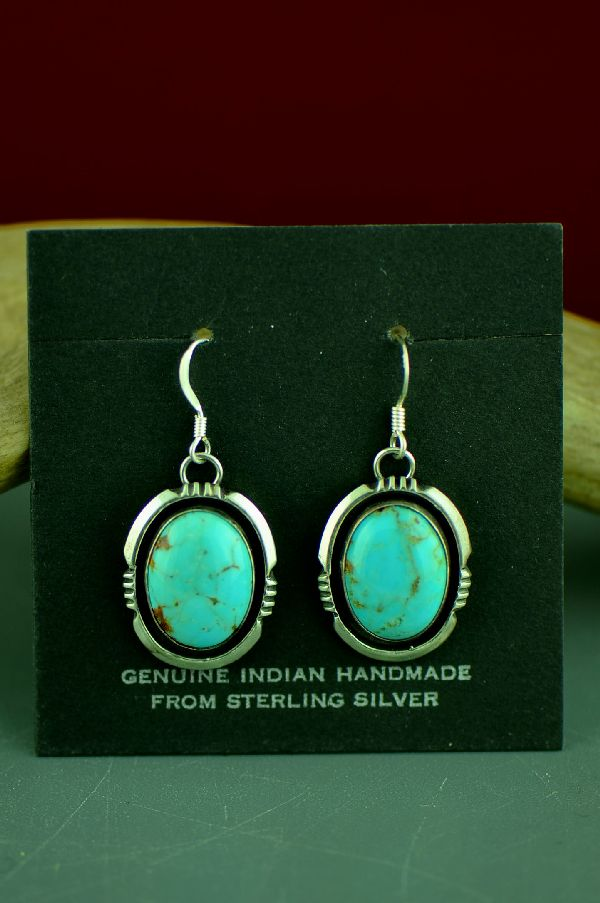 Navajo Royston Turquoise Earrings by Will Denetdale