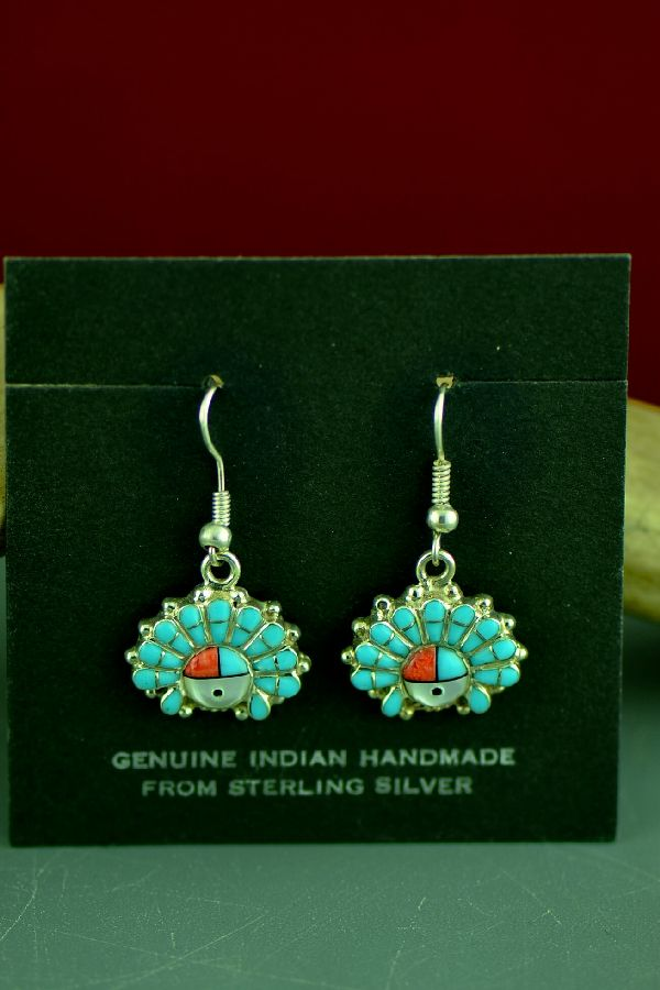 Zuni Turquoise, Coral, and Jet Pearl Inlaid Dangle Sunface Earrings