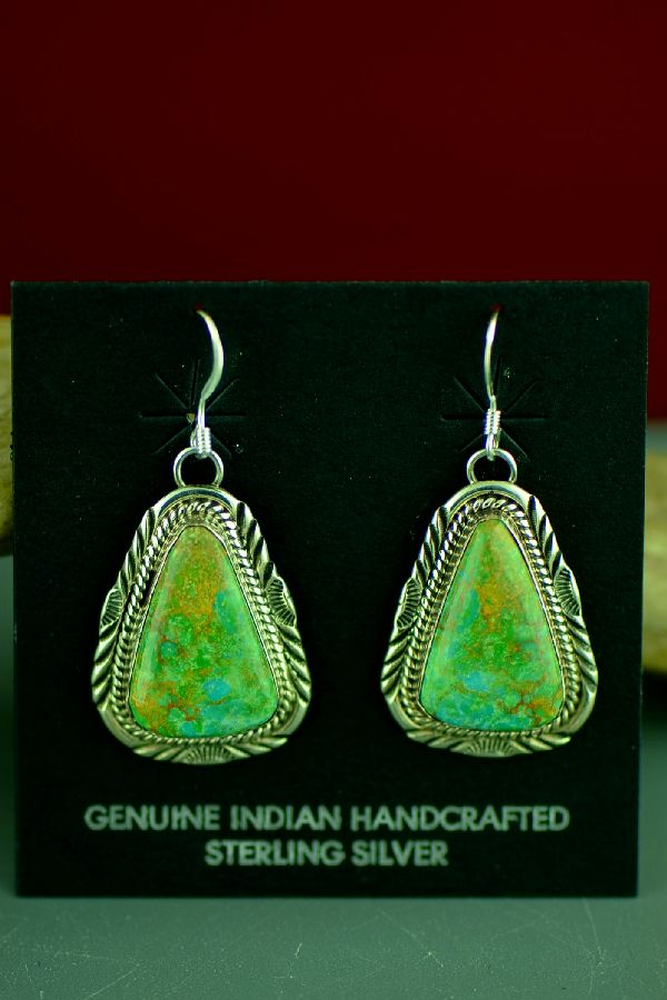 Navajo Kings Manassa Turquoise Earrings by Will Denetdale