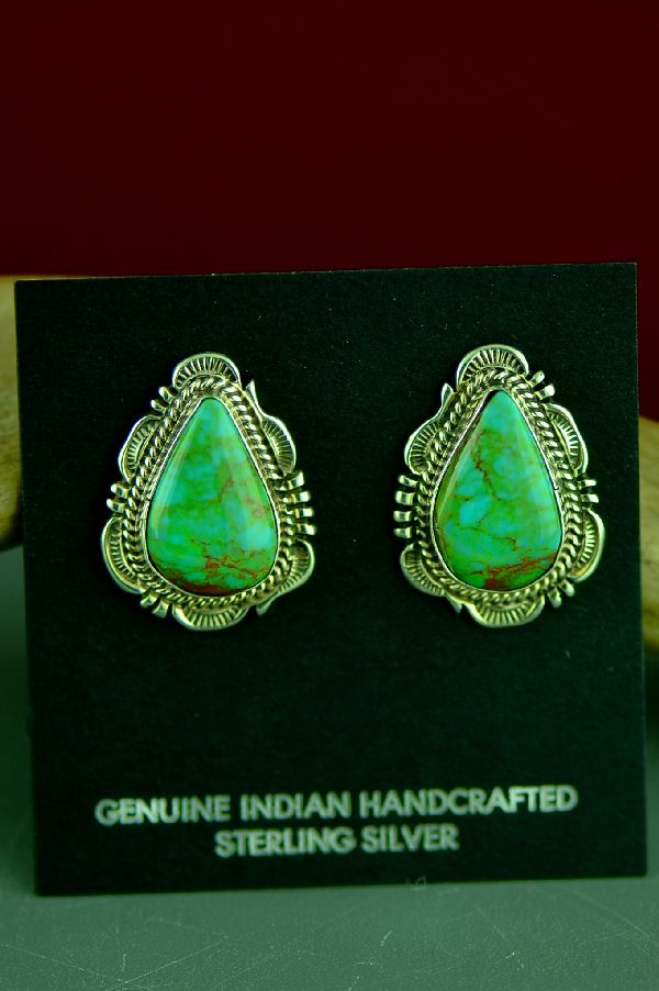 Native American Royston Turquoise Earrings by Will Denetdale