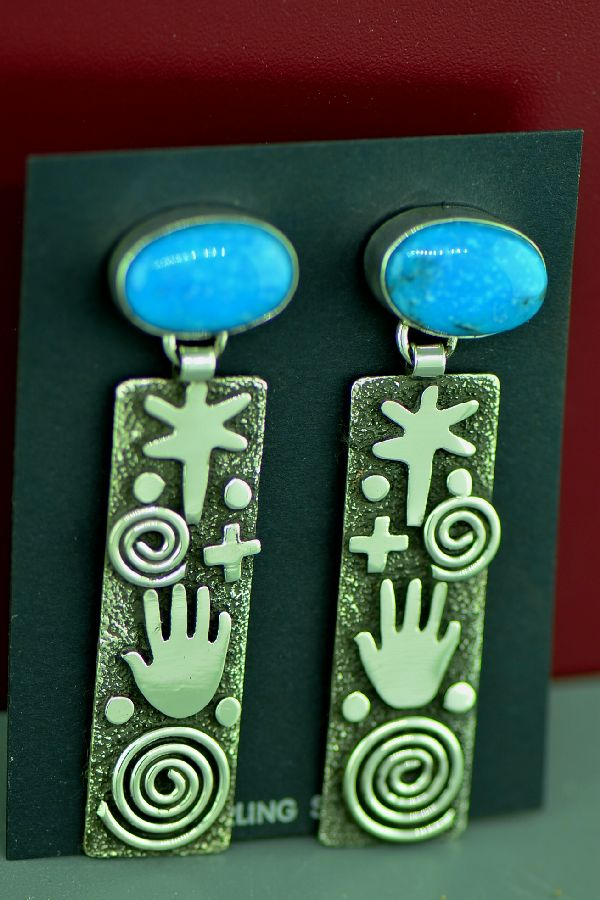 Zuni/Navajo Sterling Silver Kingman Turquoise Petroglyph Earrings by Award Winning Artist Alex Sanchez