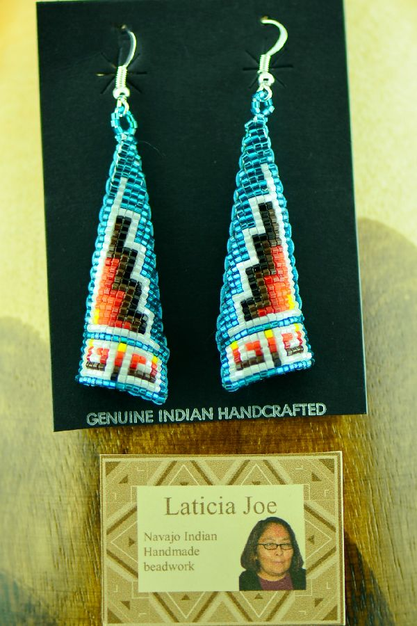 Navajo Multi-Colored Beaded Earrings by Laticia Joe