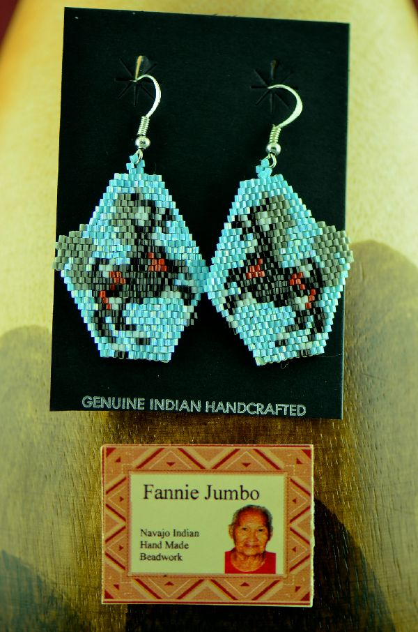 Navajo Beaded Horse Earrings by Fannie Jumbo