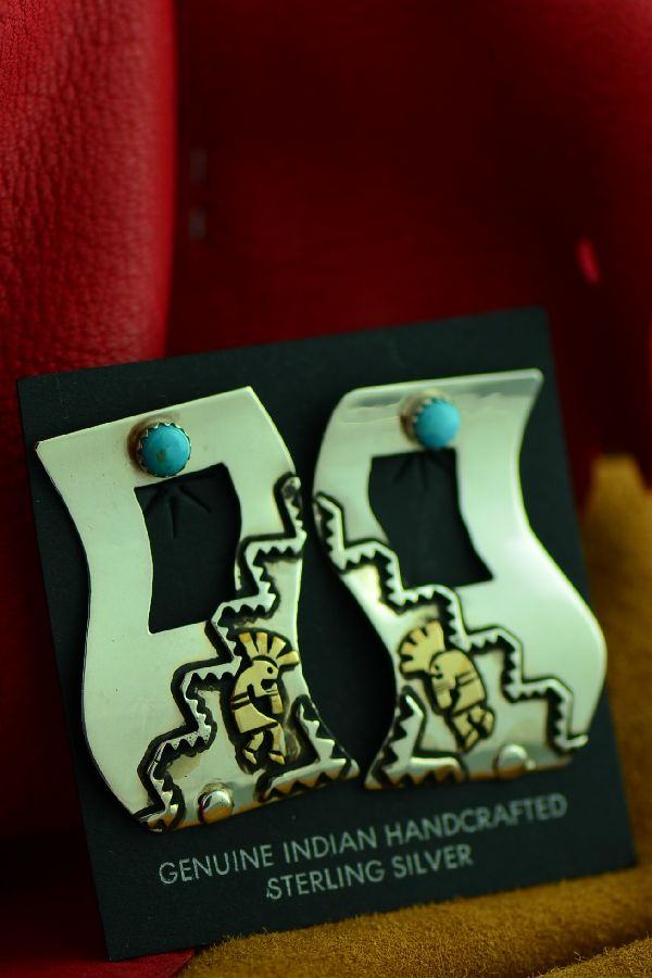 Navajo Sterling Silver and Gold Turquoise Kokopelli Earrings by Rosita Singer