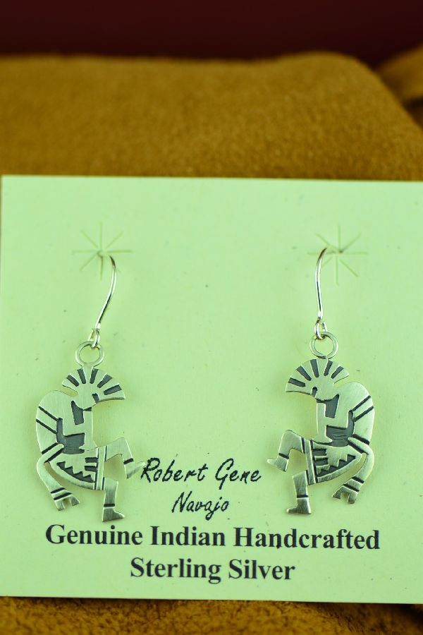 Navajo Sterling Silver Kokopelli Earrings by Robert Gene