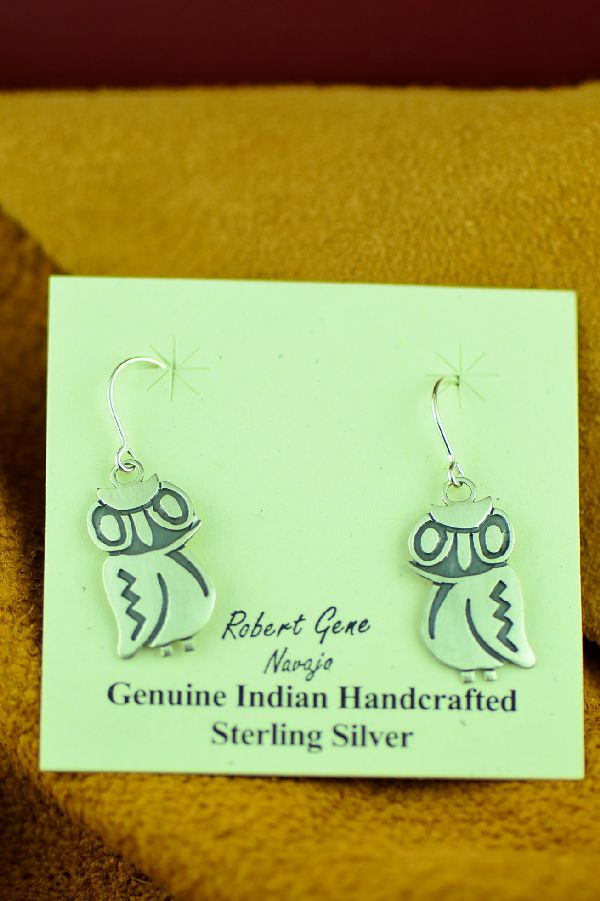 Navajo Sterling Silver Owl Earrings by Robert Gene