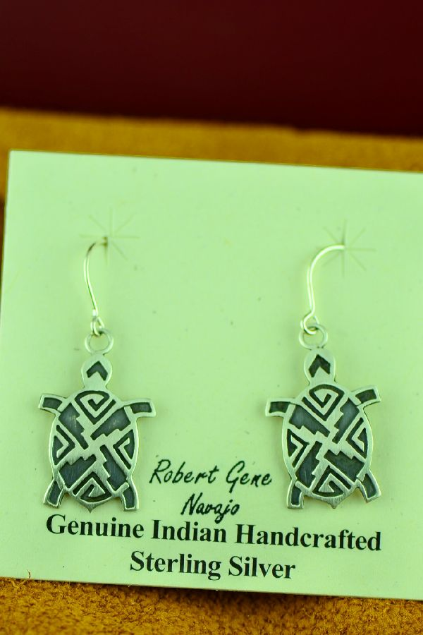 Navajo Sterling Silver Turtle Earrings by Robert Gene