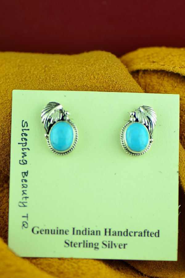 Sleeping Beauty Turquoise Native American Earrings by Berna Francisco