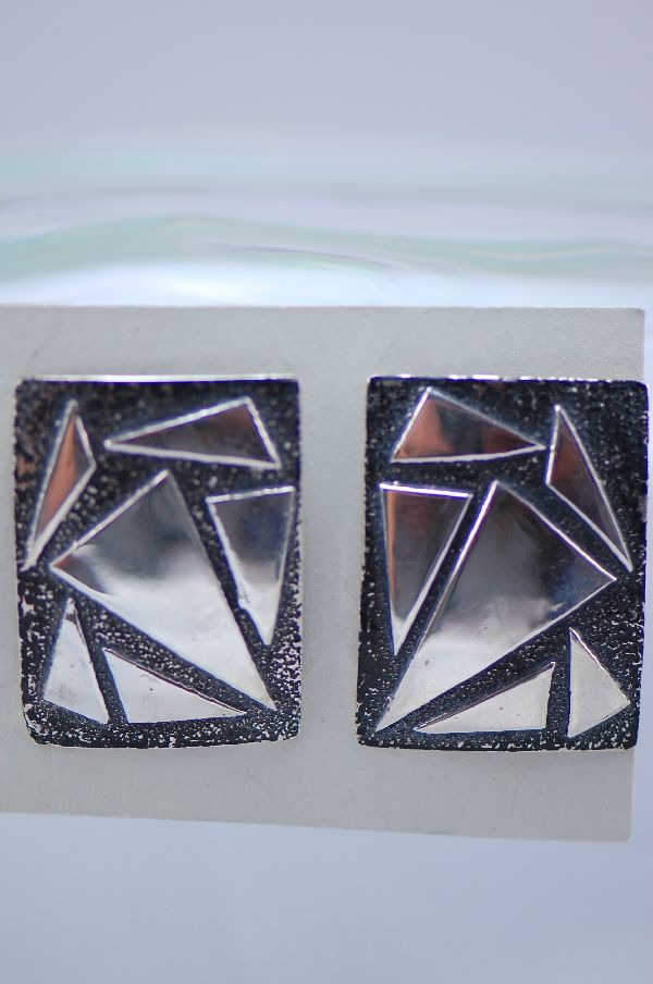 Navajo - Sterling Silver Contemporary Earrings by Ruby Begay