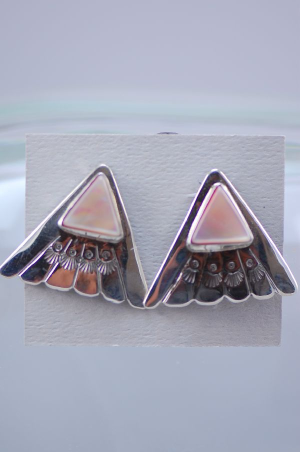 Navajo – Hand Stamped Sterling Silver Pink Mother of Pearl Post Earrings