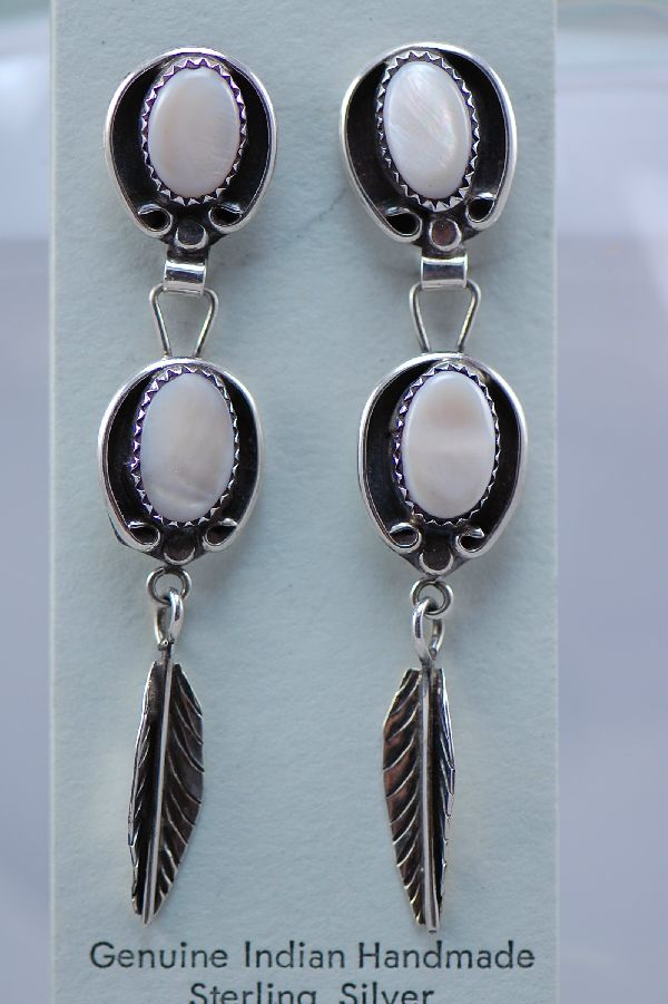 Navajo – Pink Mother of Pearl Sterling Silver Feather Dangle Earrings by Ruth Thomas