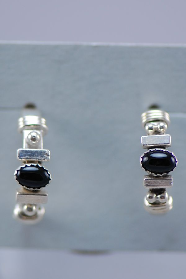 Black Onyx and Sterling Silver Half Hoop Post Earrings by Les Baker