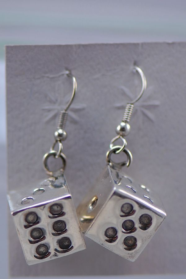 Navajo- Sterling Silver Dice Dangle Earrings