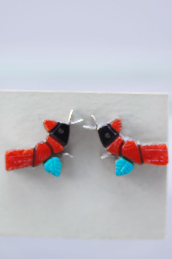 Zuni- Multi-Stone Inlaid Red Bird Sterling Silver Post Earrings by Steven Natewa