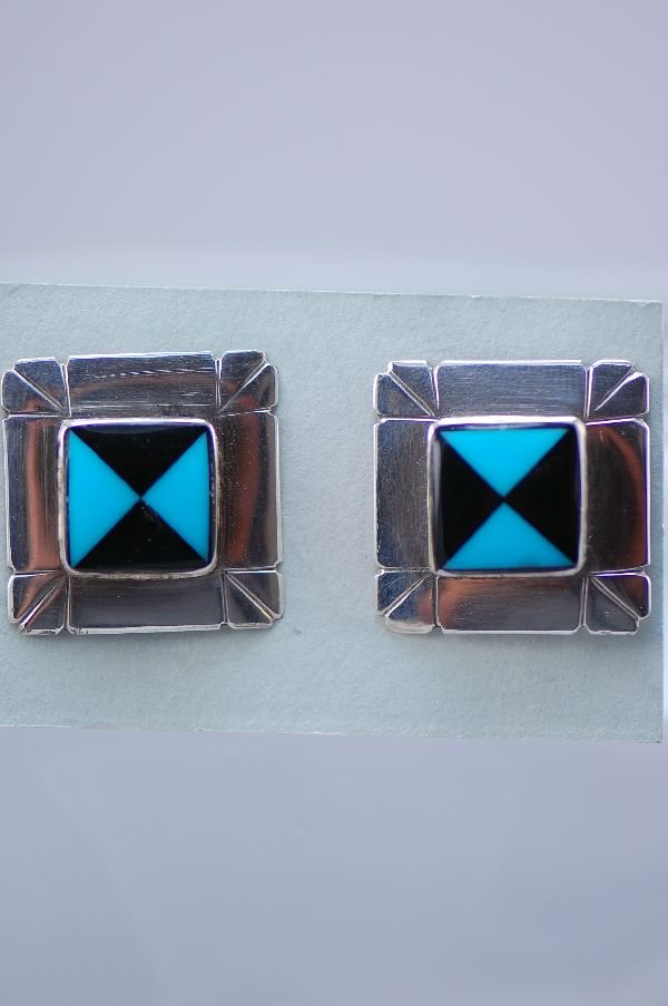 Navajo – Exquisite Multi-Stone Inlaid Post Earrings by Ben Touchine