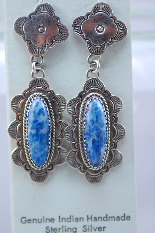 Navajo – Natural Blue Denim Lapis Sterling Silver Post Earrings by D. Begaye