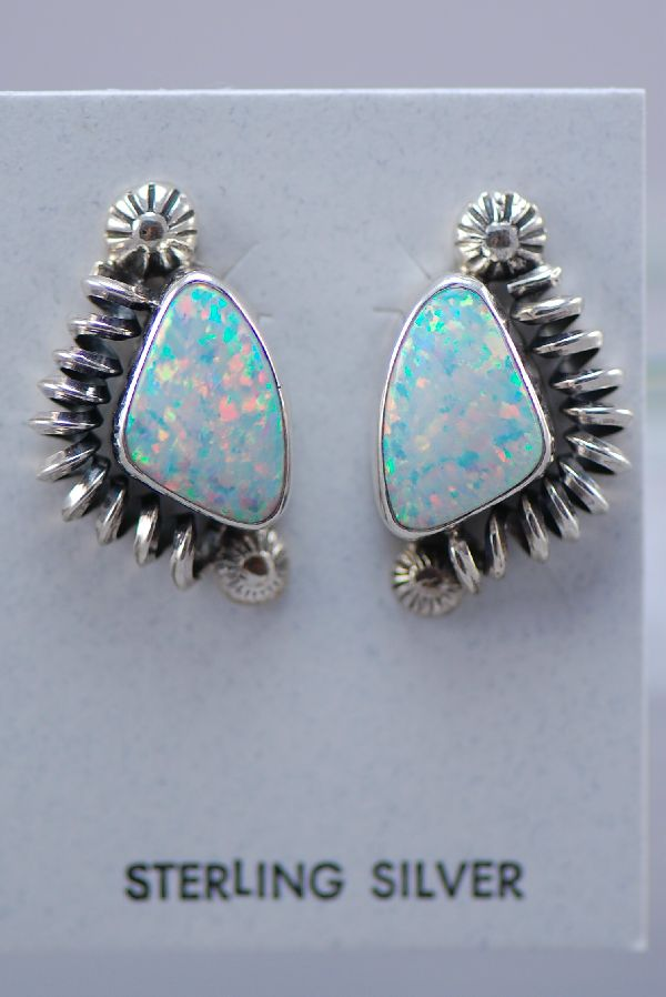 Contemporary Lab Opal Native American Earrings