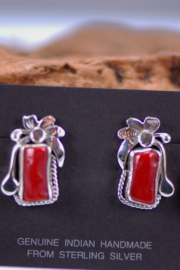 Navajo - Sterling Silver Natural Branch Mediterranean Coral Earrings by Fritson Toledo and Les Baker
