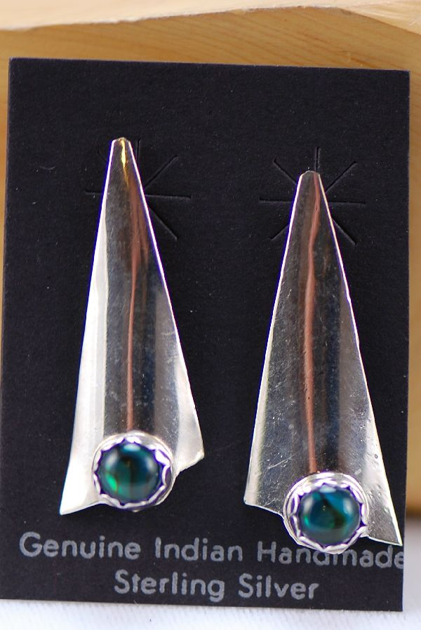 Navajo - Sterling Silver Paua Shell Earrings