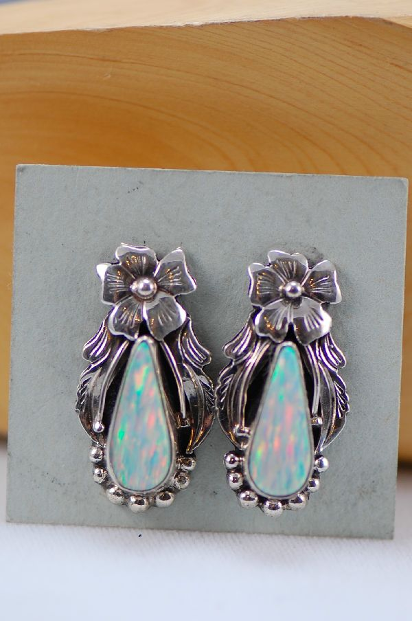 Les Baker – Lab Opal Sterling Silver Post Earrings