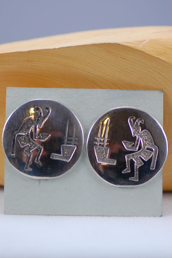 Navajo – Sterling Silver Kokopelli Earrings by P. Yazzie