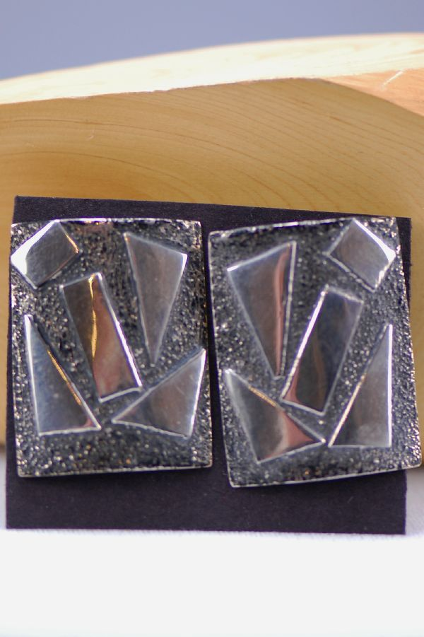 Navajo – Contemporary Sterling Silver Hand Stamped Earrings by Ruby Begay