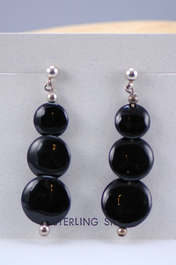 Navajo – Sterling Silver Black Jade Earrings